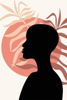 Female face profile minimalism hand drawn afroamerican  wallpaper poster room interior decor