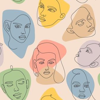 女性の顔のシームレスなパターン。現代の連続した1行のミニマリストの女性の抽象的な肖像画。輪郭の美しさの女の子の頭のアートベクトルテクスチャ。カラフルなフェミニンなテキスタイルのトレンディなデザイン