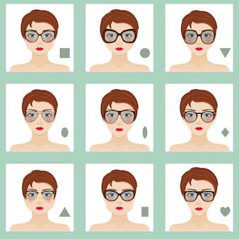여성 얼굴 모양을 설정합니다. 9 개의 아이콘. 파란 눈, 빨간 입술 및 갈색 머리카락을 가진 소녀. 다른 여성에게 적합한 안경. 다채로운 그림.