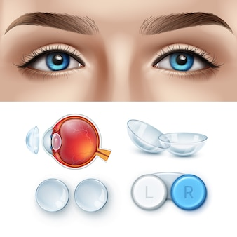 Female face with blue eyes and realistic set of contact lens with box and human eye anatomy.