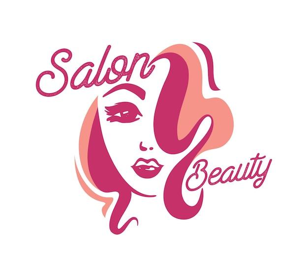 ビューティーサロンの巻き毛のラベル、白い背景で隔離のかわいい女の子の頭を持つ創造的なロゴと女性の顔。理髪店、女性パーラー、ヘアカットサービスクリエイティブバナー。ベクトルイラスト