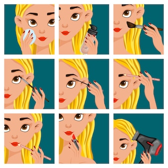 Female face with makeup steps