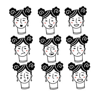 Female faces expressions with feelings moods emotion set of one woman portraits happy sad angry surp...