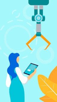 Female factory supervisor flat vector illustration