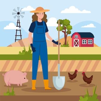 Female farmer and animals