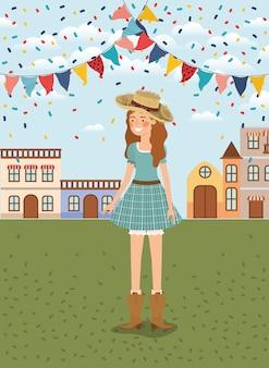 花輪と街並みを祝う女性農家