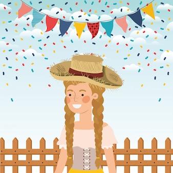 花輪とフェンスを祝う女性農家