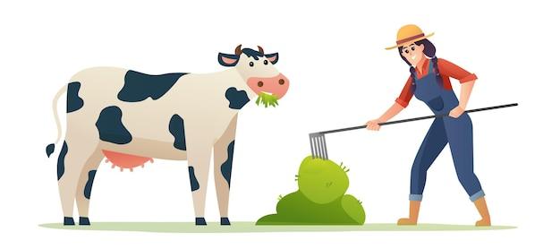 Female farmer feeding cow with grass illustration