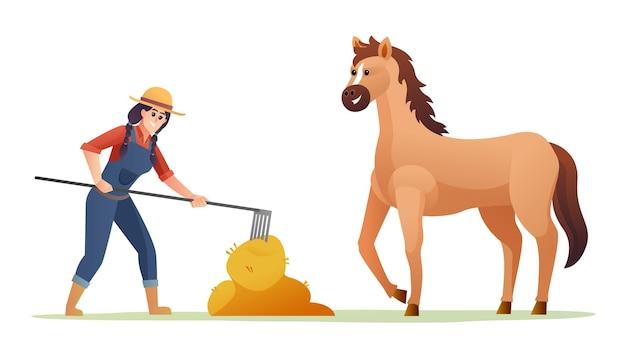 Женщина-фермер кормит лошадь с сеном