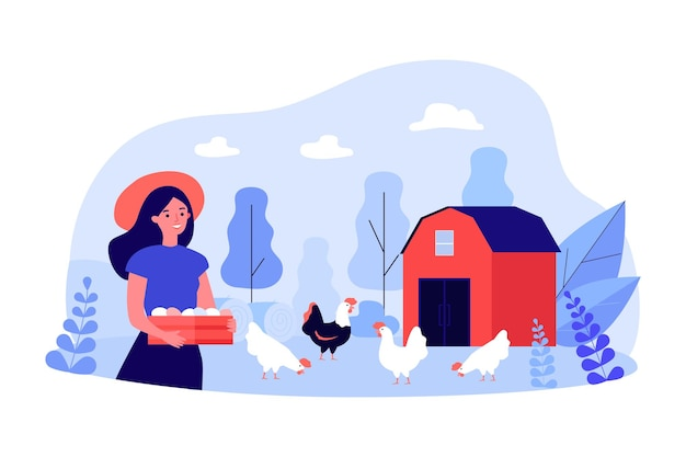 Female farmer holding crate with eggs near chicken coop or barn. happy rural woman next to hens and rooster flat vector illustration. farming, agriculture concept for website design or landing page