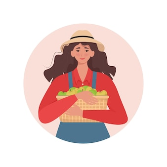 Female farmer holding a wicker basket with apples vector illustration in flat style