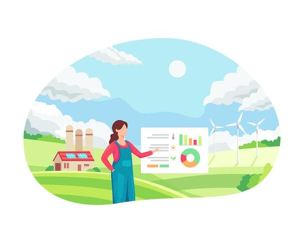 彼女の工業農場を管理している女性の農夫。スマート農業のコンセプト、農業における革新的なアプローチ。スマートファーマーは、自分の農場のデータを監視および分析します。フラットスタイルのベクトル図