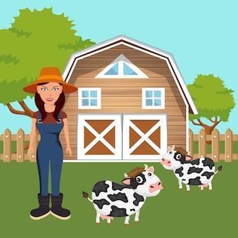 농장 구내 서 여성 농부