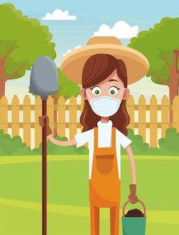 医療マスクシーンを着ている女性農家
