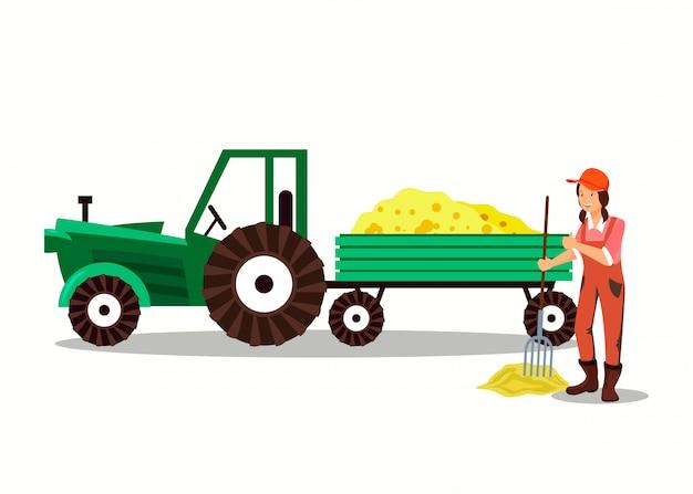 Female farmer working pitchfork cartoon character