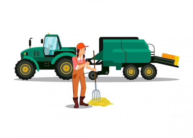 Female farmer working with pitchfork character