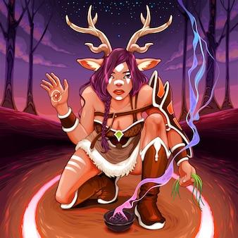 Фавн совершает ритуал исцеления в лесу