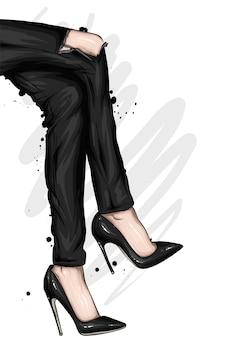 Female feet in stylish shoes