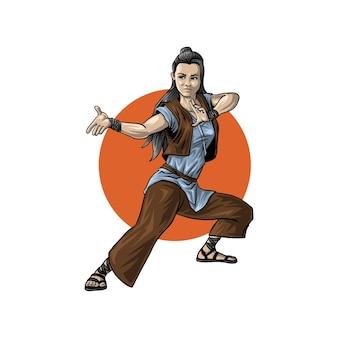 Женский боец готов к бою иллюстрации