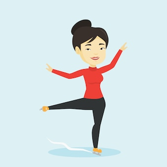Female figure skater vector illustration.