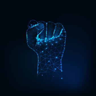 Female fist silhouette, raised hand made of glowing stars