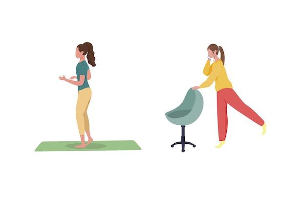 Женщина-фрилансер, тренирующая плоский цветной безликий набор символов
