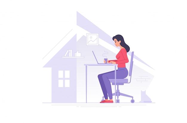 Female freelancer working at home vector illustration
