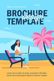 Female freelancer working via laptop on sea beach flyer template