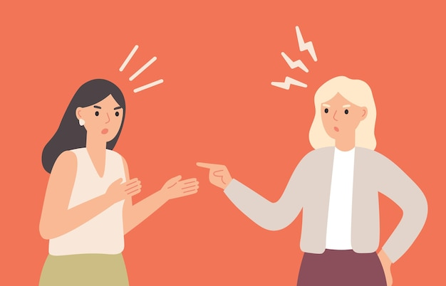 Female friends arguing, yelling at each other. girls having conflict, communicating with aggression and anger. women quarreling. furious and nervous people having dispute vector illustration