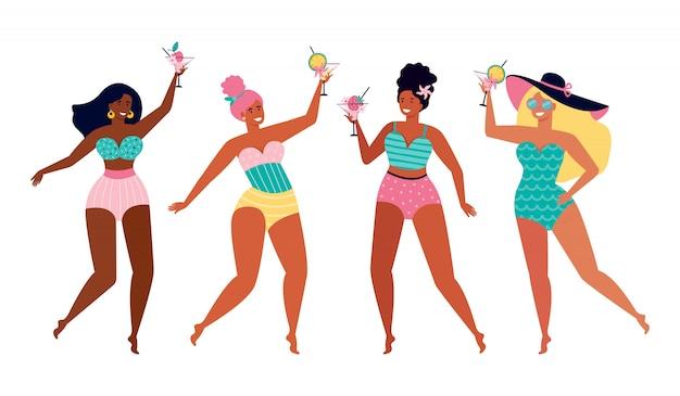 여름 해변 파티에서 여자 친구. 수영복에 재미있는 여자는 과일 칵테일을 마신다. 바다로 여름 휴가. 국적과 문화가 다른 여성. 손으로 그린 그림입니다.