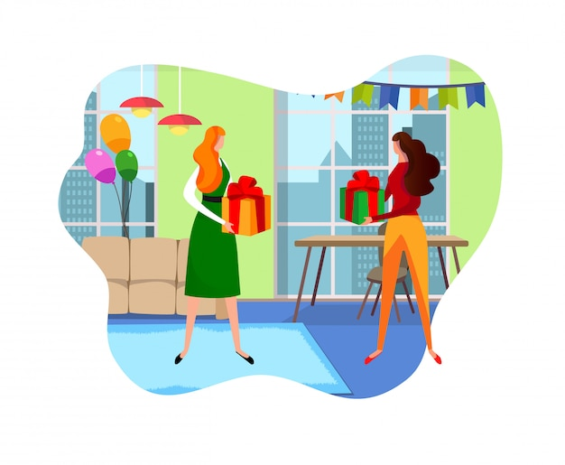 Female friends giving gifts to each other in room.