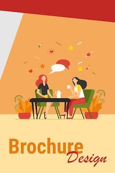 Подруги тусуются в кафе. женщины сидят за столом, пьют чай или кофе, разговаривают с речевым пузырем. векторная иллюстрация для чата, общения, обеда, концепции дружбы