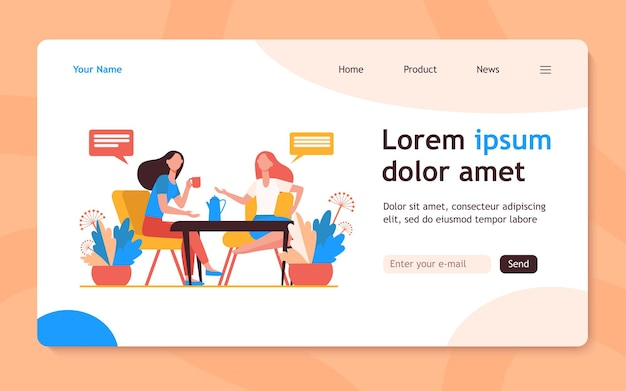 Female friends meeting over cup of coffee. women drinking tea and chatting flat  landing page. communication, friendship concept for banner, website design or landing web page