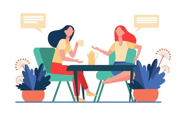 Amici femminili che si incontrano sopra la tazza di caffè. donne che bevono tè e chiacchierando piatta illustrazione vettoriale. comunicazione, concetto di amicizia