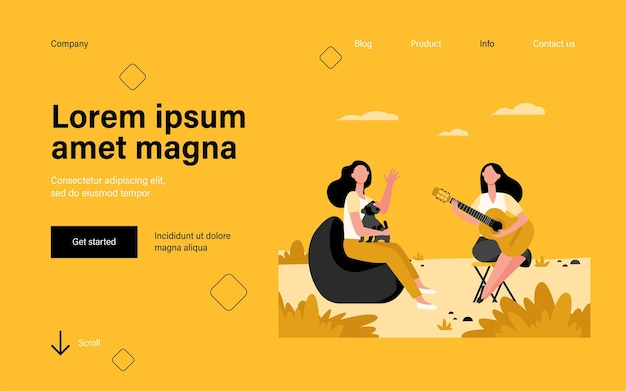 Female friends and pet relaxing outdoors landing page in flat style