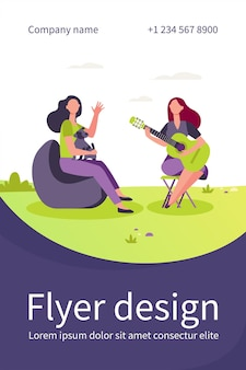 Female friends and pet relaxing outdoors. women playing guitar and singing outdoors flat flyer template