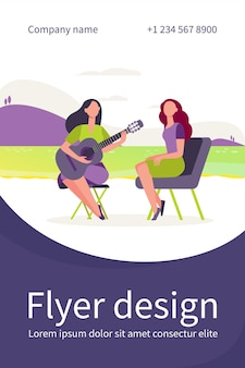Female friends relaxing by lake. women playing guitar and singing outdoors flat flyer template