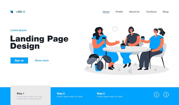 Female friends sitting at table in cafe and drinking wine landing page in flat style