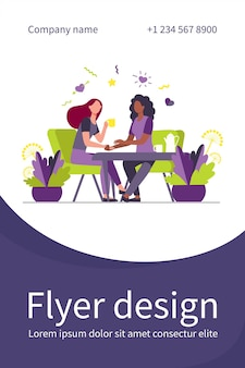 Female friends talking over cup of tea. holding hand, giving comfort, coffee shop flat illustration. flyer template