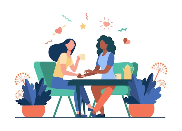 Female friends talking over cup of tea. holding hand, giving comfort, coffee shop flat vector illustration. communication, friendship concept