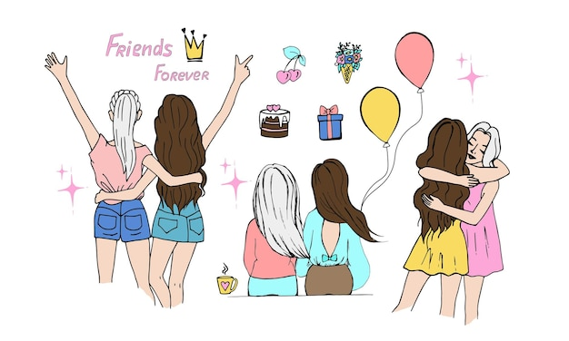 Female friendship concept set of girls friends in different poses doodle style vector illustratio