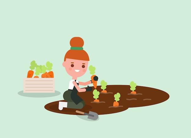 Мультфильм женский садовник сбор моркови. иллюстрация молодых сельскохозяйственных рабочих. персонаж.