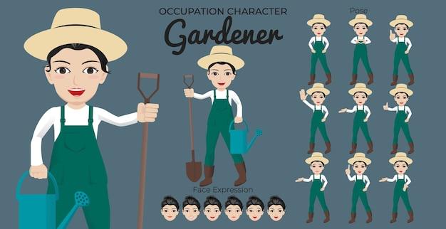 さまざまなポーズと顔の表情を持つ女性の庭師の文字セット