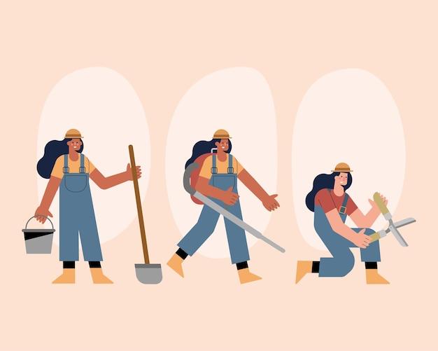 活動を練習する女性庭師のキャラクター