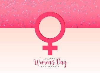 美しいピンクの背景に女性の性別記号