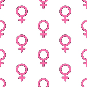 흰색 배경에 여성 성별 기호 원활한 패턴입니다. 성별 테마 벡터 일러스트 레이 션