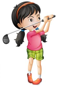 A female golfer character