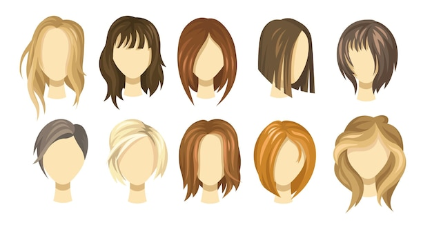 Female hair style collection. blond, brown and ginger haircuts for girls