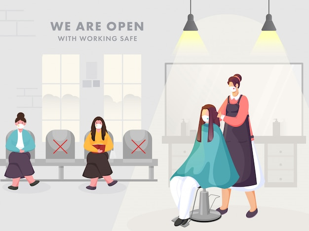 Female hairdresser and clients wearing protective mask in beauty parlor or salon with maintaining social distance for avoid coronavirus.