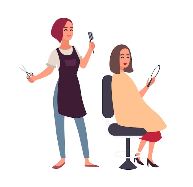 Female hairdresser cutting hair of her happy client sitting in chair and looking in mirror.